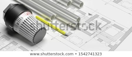 Chauffage radiateur thermostat vanne attaché brun Photo stock © magraphics
