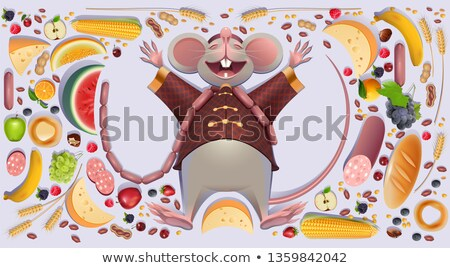 Fat mouse rat is rest spreading paws. 2020 on Chinese calendar symbol rich wealth abundance Stock photo © orensila