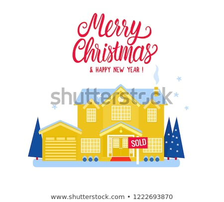 Merry Christmas White Residential Buildings Vector Stock photo © robuart