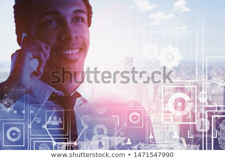 information from the Internet. african businessman and smartphone with big screen Stock photo © studiostoks