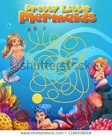 pretty little mermaid maze game stock photo © colematt