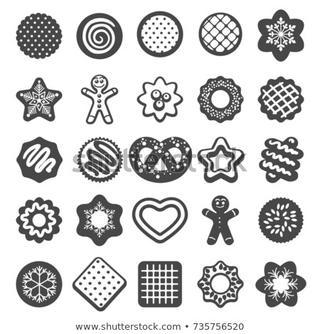 Gingerbread Man and Star Shaped Cookies Icons Stok fotoğraf © robuart