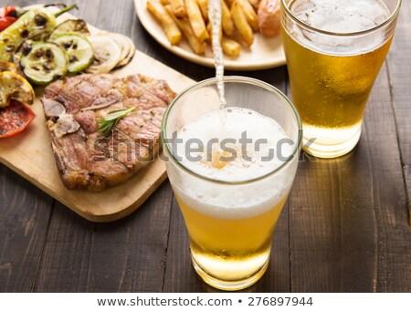 バーベキュー ディナー 冷たい ビール 実例 背景 ストックフォト © colematt