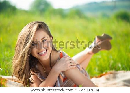 肖像 · 小さな · 笑顔の女性 · 屋外 · 幸せそうな顔 · クローズアップ - ストックフォト © ElenaBatkova