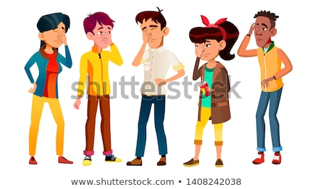 Ashamed Teenagers With Gesture Facepalm Set Vector Stock photo © pikepicture