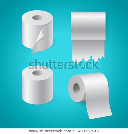 realistic textured paper roll set kitchen towel torn toilet paper roll stock photo © marysan