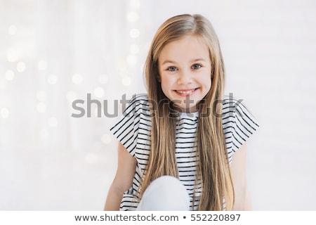 Cute meisje portret groene bomen voorjaar Stockfoto © alexaldo