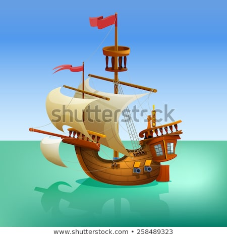 Ancient sailboat, medieval caravel, pirate ship, navigate vessel. Stock photo © Glasaigh