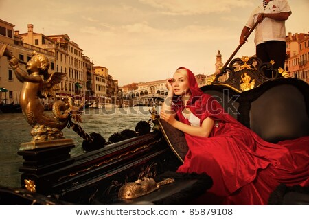 женщины верховая езда гондола Венеция Италия туристических Сток-фото © AndreyPopov