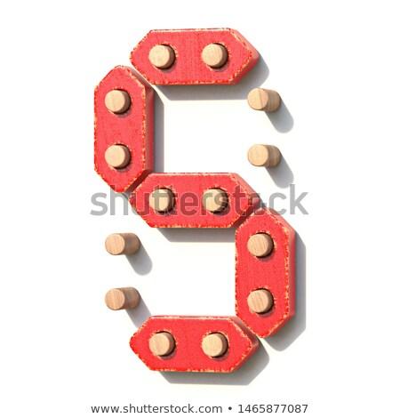 brinquedo · de · madeira · vermelho · digital · número · oito · 3D - foto stock © djmilic