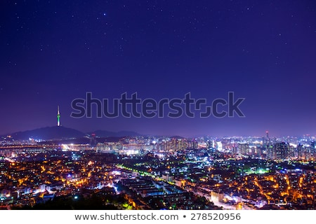 Night view of Seoul Downtown cityscape Stock photo © vichie81