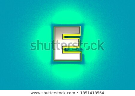 Yellow outlined font letter E 3D Stock photo © djmilic