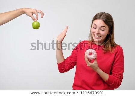 mulher · maçã · bolo · belo · mulher · madura · tarde - foto stock © dolgachov