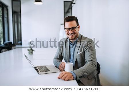 肖像 內容 商人 關閉 年輕 微笑 商業照片 © lichtmeister
