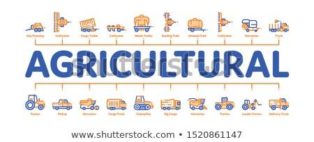Mezőgazdasági járművek minimális infografika szalag vektor Stock fotó © pikepicture