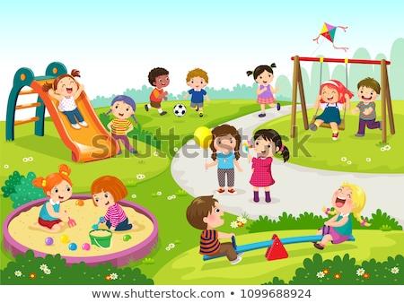 Kids Playing in Sandbox Boy Girl Friends Vector Stock photo © robuart