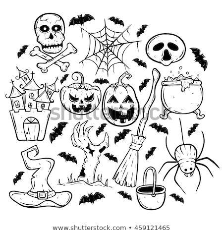 Halloween Witch Hat Pumpkin in Outline Stock photo © Krisdog