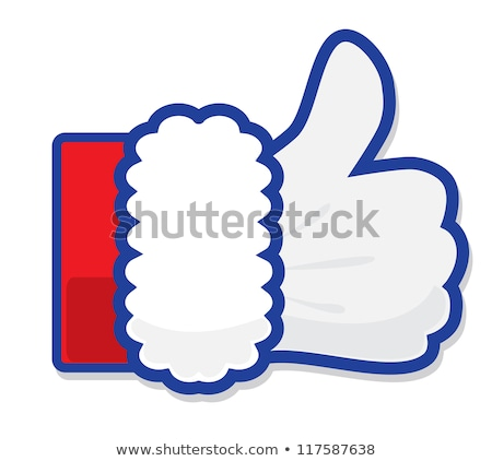 Stock photo: Like Christmas. Santa's Claus hand Thumbs Up symbol icon with candy cane, vector illustration. Icon
