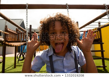 Schoolmeisje grappig gezicht Stockfoto © wavebreak_media