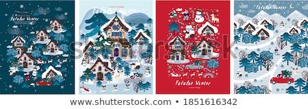 Huizen bos kerstman presenteert slee Stockfoto © liolle