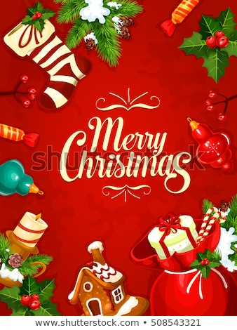 Christmas Poster, Card Bag with Fir-tree Vector Stock photo © robuart