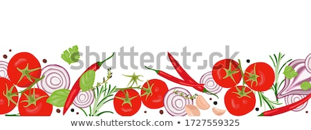 Cherry tomatoes and basil Vector realistic. Top view cooking ing Stock photo © frimufilms