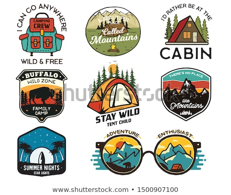 Vintage hiking logos, mountain adventure badges set. Hand drawn labels designs. Travel expedition, w Stock photo © JeksonGraphics