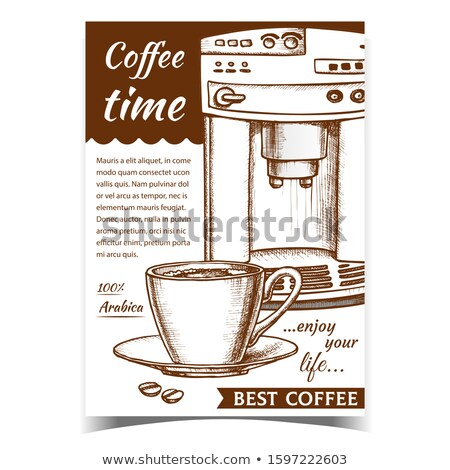 Espresso Machine Front View And Cup Banner Vector Stock photo © pikepicture