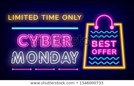 Tijd neon promo poster winkel vector Stockfoto © robuart