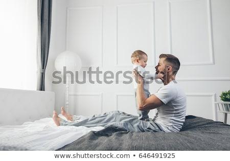 Boldog baba fiú apa otthon család Stock fotó © dolgachov