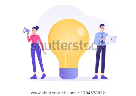 Man and Woman Creating Business Ideas Web Vector Stock photo © robuart