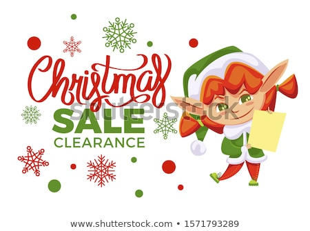 Elf Girl and Christmas Sale, Winter Holiday Off Stock photo © robuart