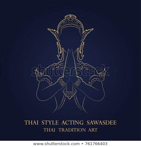 thai · klasszikus · vonal · művészet · ajtó · templom - stock fotó © koratmember