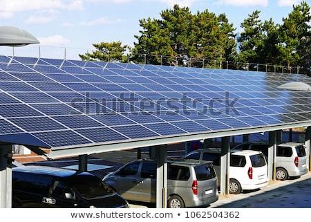 Duvar güneş panelleri mavi 3d illustration teknoloji enerji Stok fotoğraf © make
