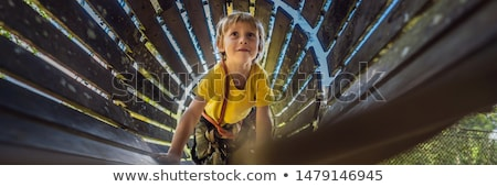 Little boy in a rope park. Active physical recreation of the child in the fresh air in the park. Tra Stock photo © galitskaya
