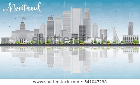 Montreal linha do horizonte cinza edifícios blue sky reflexão Foto stock © ShustrikS