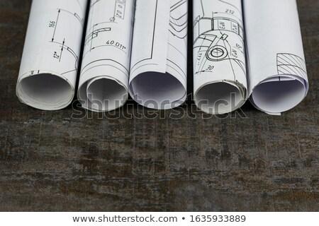 Rolled blueprints Stock photo © pressmaster