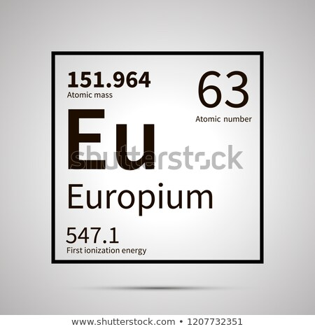 Europium chemical element with first ionization energy and atomic mass values ,simple black icon wit Stock photo © evgeny89