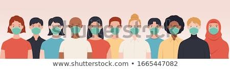 иллюстрация женщину лице медицинской маске Сток-фото © robuart