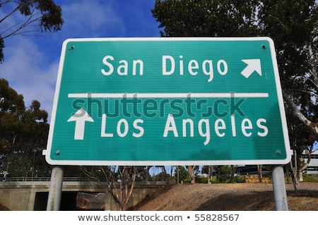 San Diego Califórnia sinal da estrada verde EUA nuvem Foto stock © kbuntu