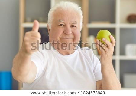 hüvelykujj · alma · egészséges · étkezés · kép · étel · kéz - stock fotó © SimpleFoto