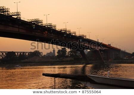 Ponte reconstrução Belgrado rio Sérvia construção Foto stock © simply