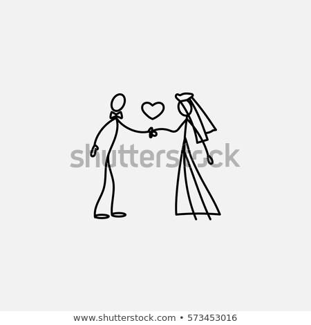 Menyasszony vőlegény esküvő pár baba család Stock fotó © vrvalerian