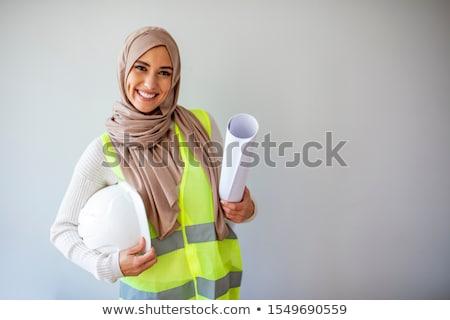 smiling business woman engineer stock photo © kurhan