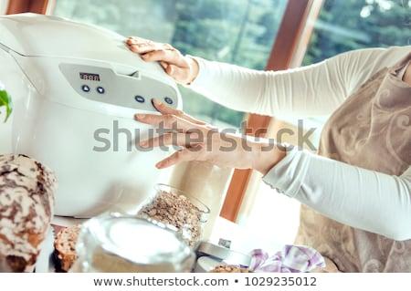 Fotó szett háziasszony stúdió mosoly arc Stock fotó © weecy