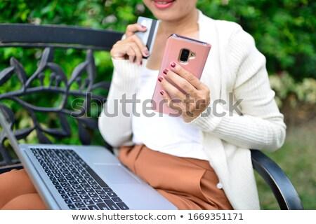 美しい ショッピング 女性 袋 クレジットカード ストックフォト © HASLOO