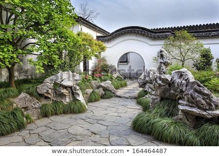 китайский саду растений цветы небе дома Сток-фото © Alvinge