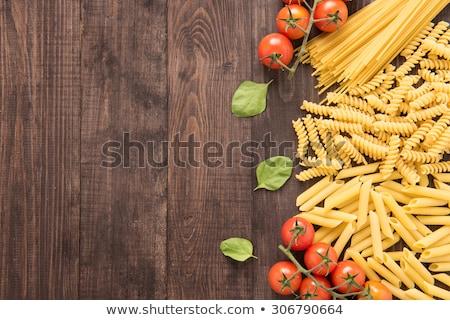 nyers · tészta · fából · készült · spagetti · textúra · étel - stock fotó © elly_l