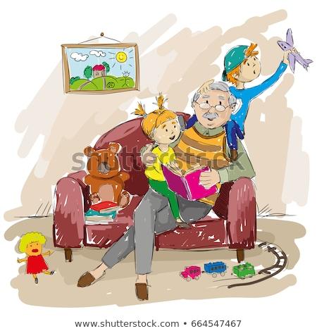 dziadek · nauki · wnuk · przeczytać · dzieci · szczęśliwy - zdjęcia stock © paha_l