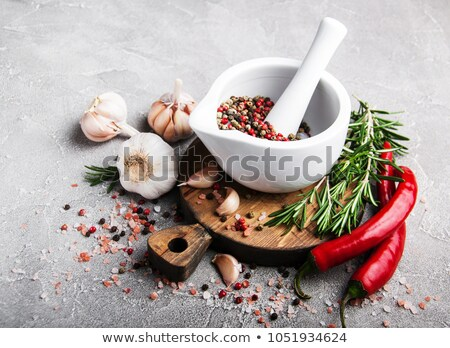 Pestle And Mortar With Salt Stock fotó © almaje